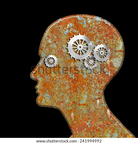 human head with gears and black background