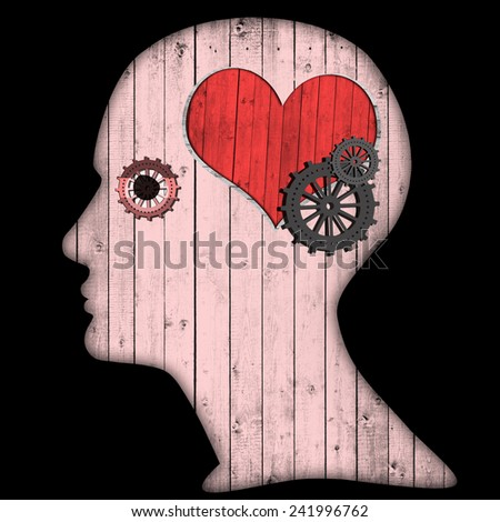 human head with gears  heart and black background - stock photo