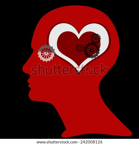 human head with gears,heart and black background - stock photo