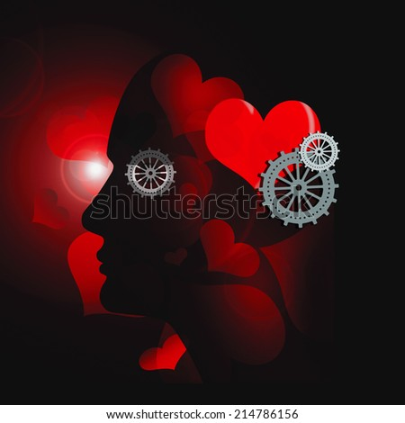 human head with gears heart and hearts background - stock photo
