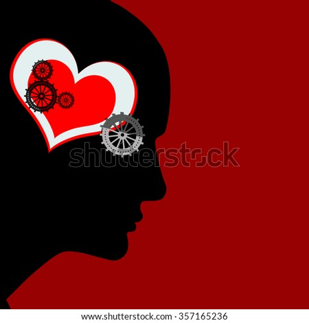 human head with  gears,heart and red background - stock photo