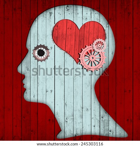 human head with gears  heart and red wood background - stock photo