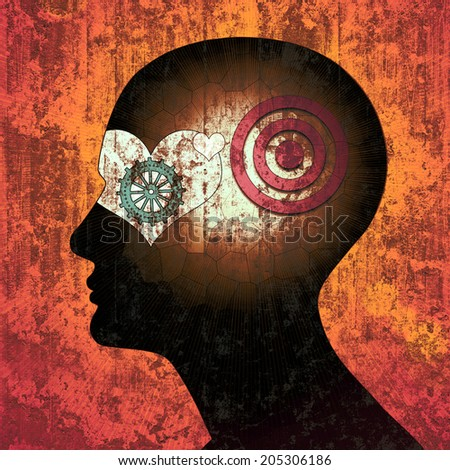human head with gears heart sun and wall ,background  - stock photo