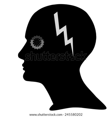 human head with gears,lightning and white background - stock photo
