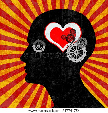human head with gears red heart and rays wall background - stock photo