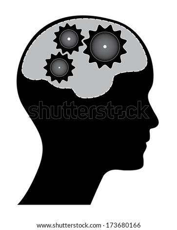Human head with green and white gears, raster version. Black brainstorm concept with gears, brain and head silhouette.  - stock photo