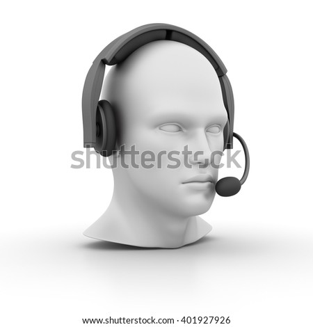 Human Head with Headset on White Background - High Quality 3D Render   - stock photo
