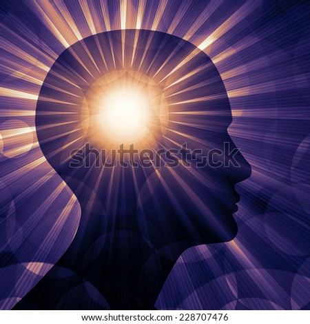 human head with heart and sun background - stock photo