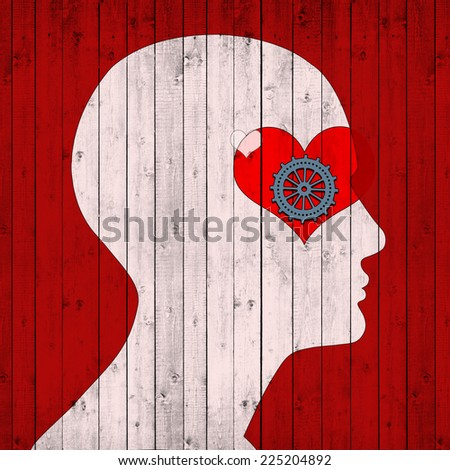 human head with heart and wood  background - stock photo