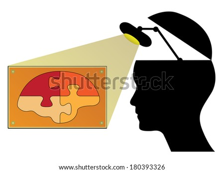Human head with lamp and brain, creative business concept illustration. - stock photo