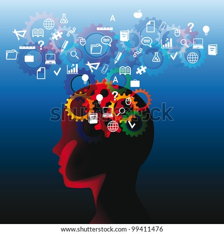 Human head with many question, thinking abstract - stock photo