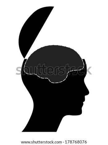 Human head with open mind and brain, creative illustration. - stock photo