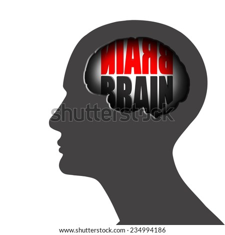 human head with text brain and white background - stock photo