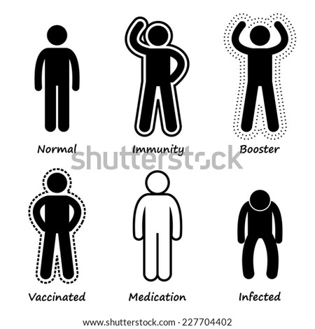 Human Health Immune System Strong Antibody Stick Figure Pictogram Icons - stock photo