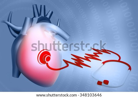 Human Heart and Stethoscope on colour background  - stock photo