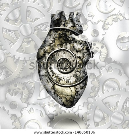 Human heart gears and time spirial - stock photo