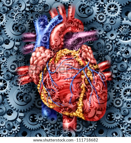 Human heart health medical care symbol with gears and cogs connected together pumping blood representing the function of a healthy organ and anatomy. - stock photo