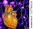 Human heart model in abstract backdrop - stock photo