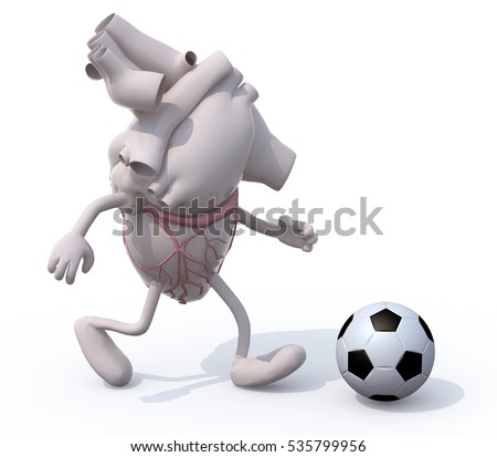 human heart organ with arms and legs that play soccer, 3d illustration