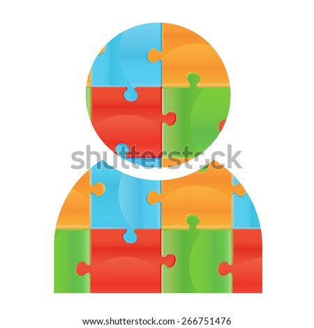 human icon made of puzzle pieces. Isolated puzzle pieces on white background  Design elements for your logo. Business man icon made of puzzle. Badge for web design