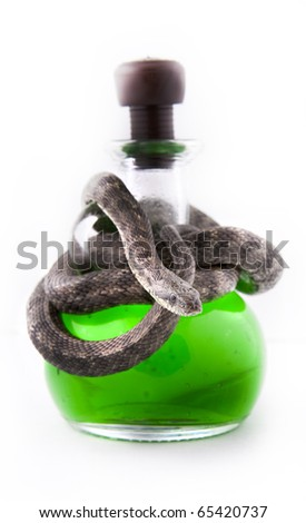 Human in black offering a poison to you - stock photo