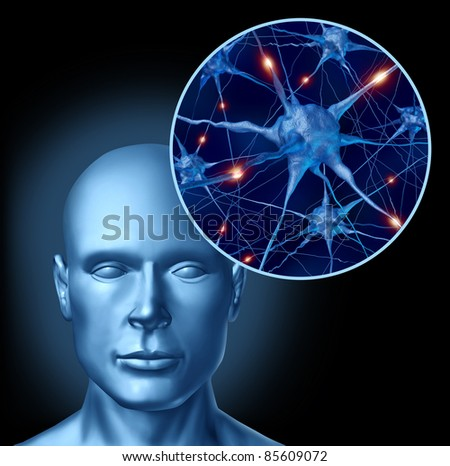 Human intelligence brain medical symbol represented by a close up of active neurons and organ cell activity by neurotransmitters showing intelligence with memory and healthy cognitive thinking. - stock photo