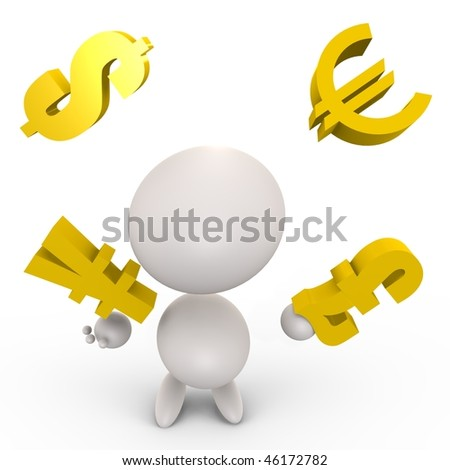 Human juggling with economy - a 3d image
