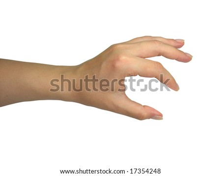 Human lady hand holding your object isolated over white background