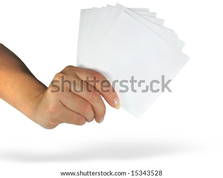 Human lady hand showing empty paper cards isolated over white background