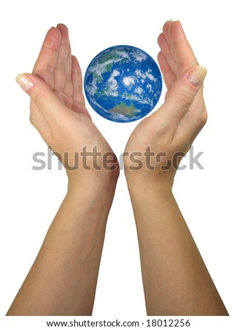 Human lady hands protecting earth globe isolated over white background - stock photo