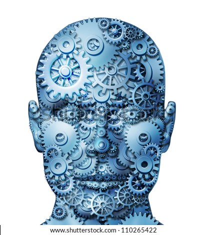 Human machine intelligence and brain function on white represented by gears and cogs in the shape of a head as a symbol of mental health and neurological functioning in patients with depression. - stock photo