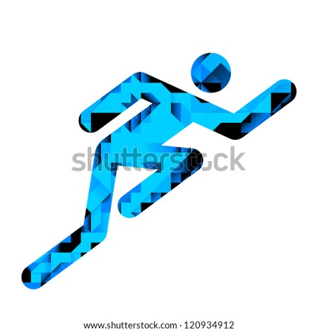 Human Male Racing Pictogram With Geometric Pattern Illustration (jpeg has clipping path) - stock photo
