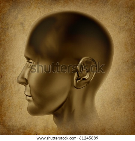 Human mind head old grunge ancient parchment document - stock photo