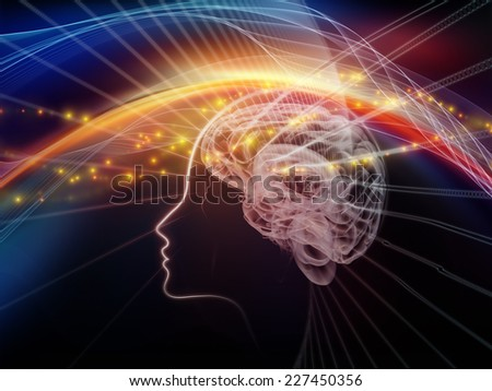 Human Mind series. Arrangement of brain, human outlines and fractal elements on the subject of technology, science, education and human mind - stock photo