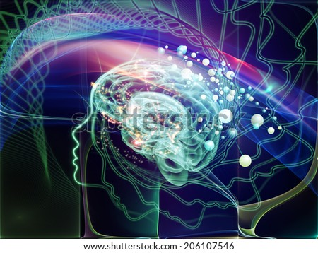 Human Mind series. Artistic background made of brain, human outlines and fractal elements for use with projects on technology, science, education and human mind