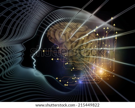 Human Mind series. Backdrop of  brain, human outlines and fractal elements to complement your design on the subject of technology, science, education and human mind