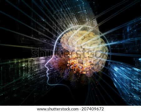 Human Mind series. Background design of brain, human outlines and fractal elements on the subject of technology, science, education and human mind