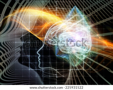 Human Mind series. Composition of brain, human outlines and fractal elements on the subject of technology, science, education and human mind - stock photo