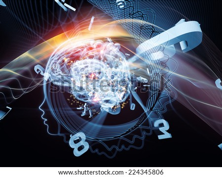 Human Mind series. Interplay of brain, human outlines and fractal elements on the subject of technology, science, education and human mind