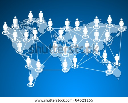 human models connected together in a social network. - stock photo