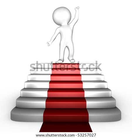 Human on top of red carpet - 3d image - stock photo