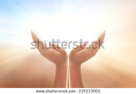 Human open empty hand with palms up. Blur Clouds Beautiful Nature Background Idea God Pray Support Business Dignity Receiving Blessing CSR Charity Grace Trust Share Zen Help Arms Kid concept. - stock photo