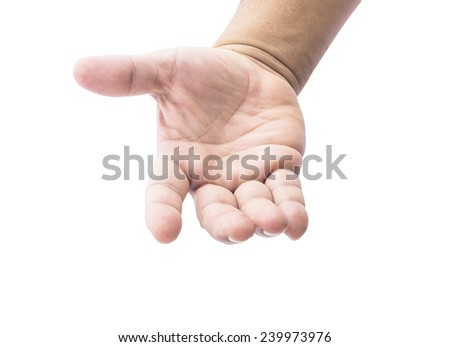 Human open empty hand with palms up, isolated on white. - stock photo