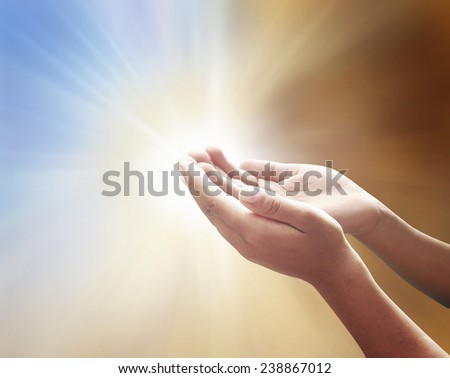 Human open empty hands with palms up, over blurred nature background. Pray for support, Worship, Forgiveness, Mercy, Humble, Repentance, Reconcile, Adoration, Glorify, Redeemer concept. - stock photo
