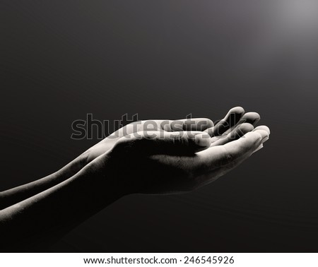 Human open two empty hands with palms up. - stock photo