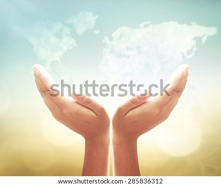 Human open two empty hands with palms up. Ask Pose Seek Beg Help Race God Soul Pray Dua Hajj Give Bless Quran Aura Heal Life Gift Eid Poor Idea Islam Thank Freedom Glow Prayer Macca Soul Kid concept - stock photo