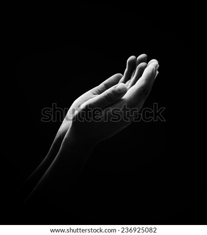 Human open two empty hands with palms up. Ask Pose Seek Beg Help Race God Well Relax Soul Pray Dua Hajj Give Child Girl Bless Quran Aura Heal Life Gift Eid Poor Idea Islam Thank Room World Candle Glow