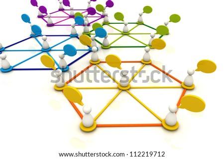 Human organization connection chart bubble diagram 3d render - stock photo
