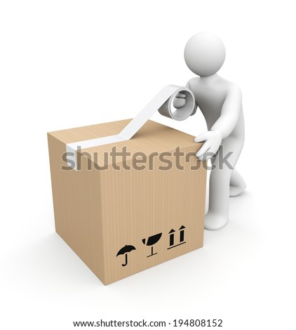 Human packing box - stock photo