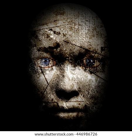 Human Pain Face 3D Render - stock photo